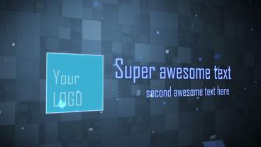 square logo text particles After Effects Template
