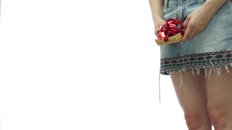 Female In Skirt Isolated With Present stock footage