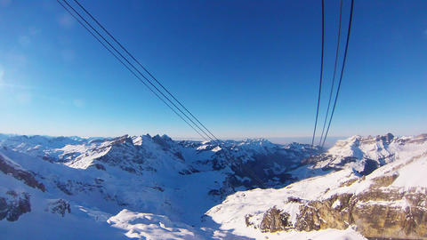 Titlis Rotair cableway cars passing each other Footage