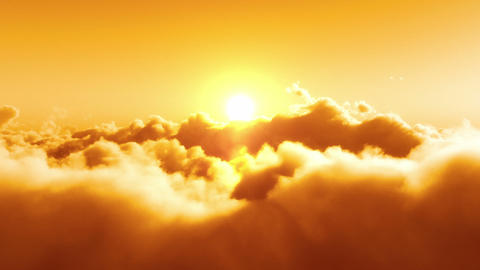 Flight Over Clouds, Yellow Sunset stock footage