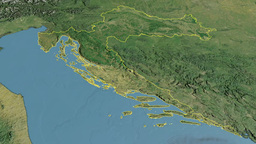 Croatia, glide over the map, outlined Animation