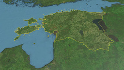 Estonia, Glide Over The Map, Outlined stock footage