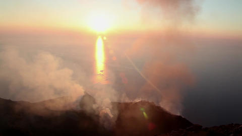 Tourists Climbing Stromboli Volcano On Aeolian Isl stock footage