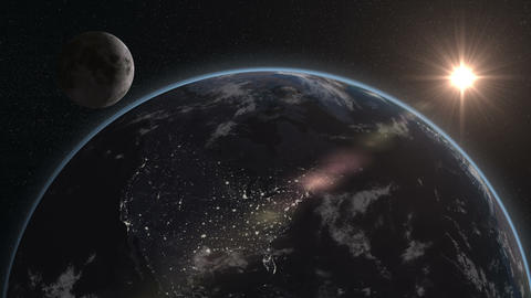 earth moon night to day from space focus usa 11605 Animation