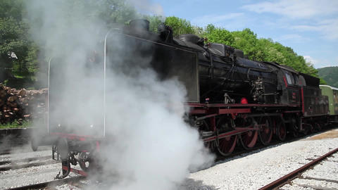 Steam train smoking Footage