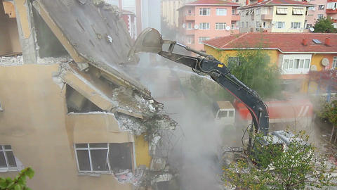 Dismantling Of A House Building stock footage