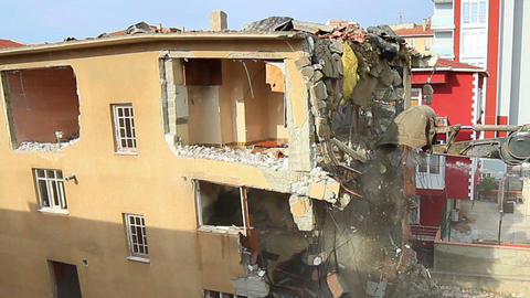 Demolishing top flat of the building Footage