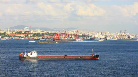 Large tanker ship in front of Istanbul container h Footage