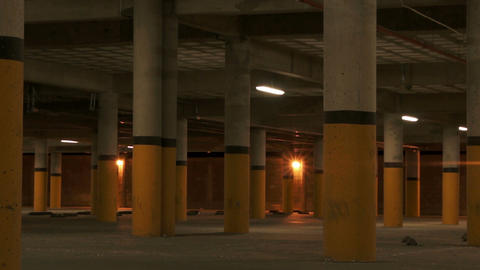 Underground Parking Pillars Scary Zoom Footage