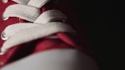 White shoelace on red shoes HD stock footage Footage