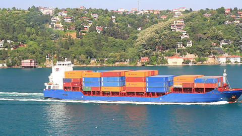 Blue Container Ship Footage