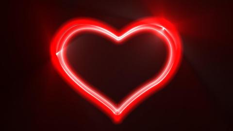 Heart Loop Neon Alpha Stock Video Footage