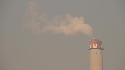 Industrial Scene Smoking Steaming Factory Tower 01... Stock Video Footage