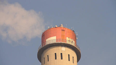 Industrial Scene Smoking Steaming Factory Tower 07... Stock Video Footage