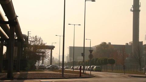 Industrial Suburban Area 02 in haze Stock Video Footage