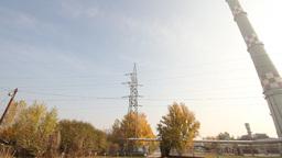 Industrial Suburban Area 06 factory tower haze Pan left Stock Video Footage