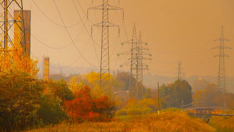 Industrial Suburban Area 12 extra high voltage electric... Stock Video Footage