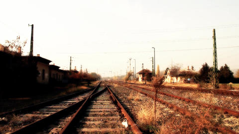Junk Environment at Railway 07 suburban area stylized Stock Video Footage