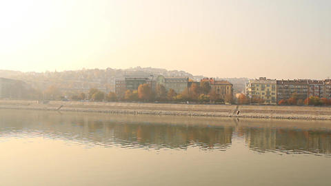 Smog Haze in European City 03 pan Stock Video Footage