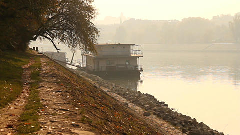 Smog Haze in European City 05 riverside Stock Video Footage