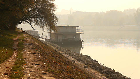 Smog Haze in European City 05 riverside Footage