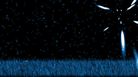 swing grass,shine stars at night,snowflake.Grassland,wheat,barley,plant,parks,seedling Animation