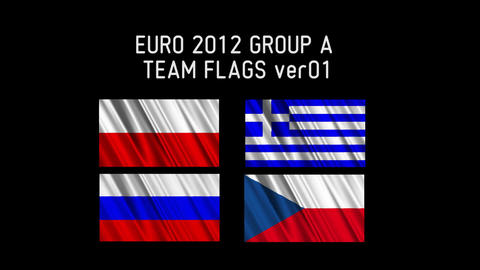 EURO 2012 Group A Flags 01 Stock Video Footage