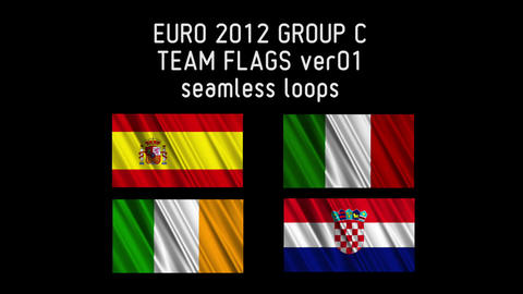 EURO 2012 Group C Flags 01 Stock Video Footage