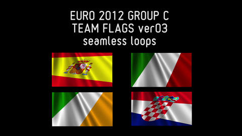 EURO 2012 Group C Flags 03 Stock Video Footage