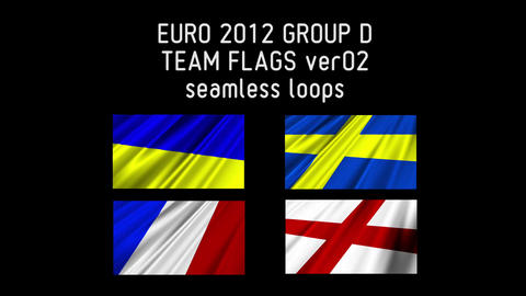 EURO 2012 Group D Flags 02 Stock Video Footage