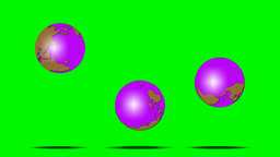 3 BOUNCING GLOBES Stock Video Footage