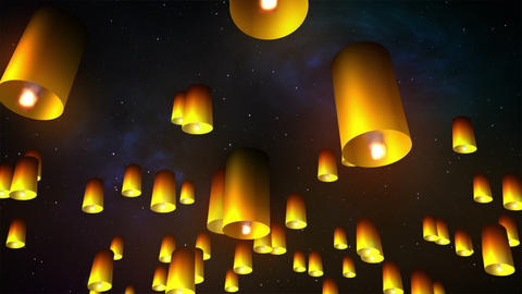 Launching sky lanterns Stock Video Footage