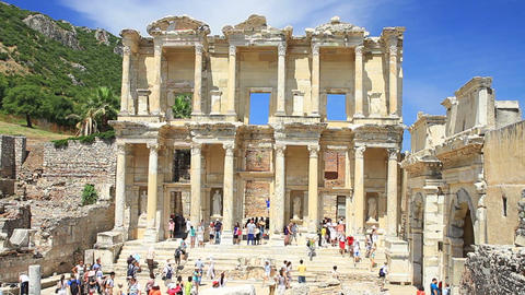 Celcius Library, Ephesus Ancient City, Turkey stock footage