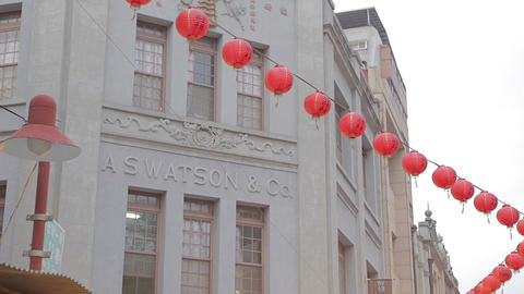 chinese new year establishing shot - red lantern c ภาพวิดีโอ