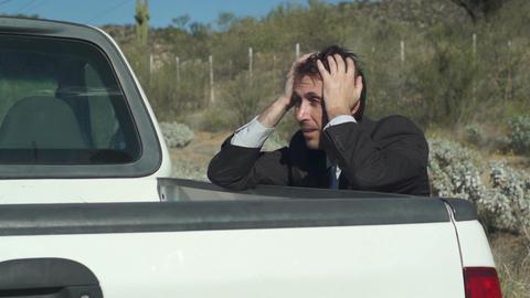 Businessman With Truck Broken Down Footage