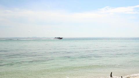 speedy motor boat sail in azure sea Footage