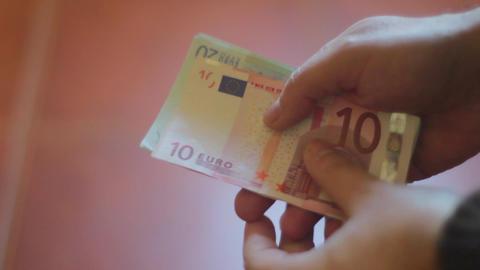 Money on Hands Footage