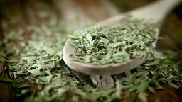 Tarragon herb on a wooden spoon HD stock footage Footage