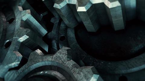 Rotating Grunge Metal Gears - Loop Animation