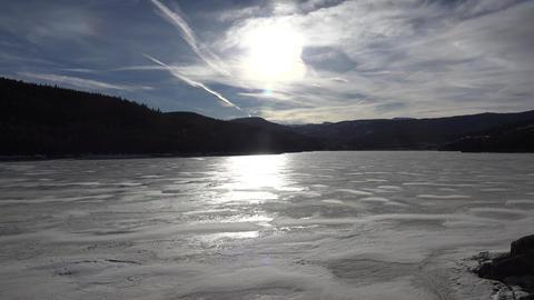 Frozen Alpine Lake Landscape stock footage