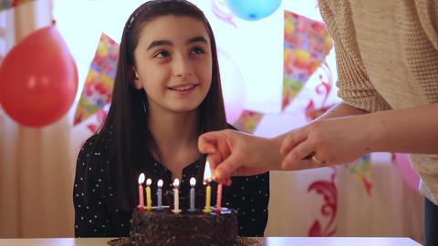 Young Girl Enjoying Birthday Cake stock footage