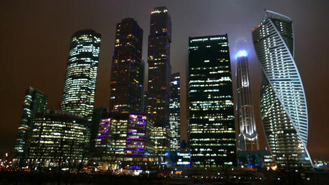 Business Center - Moscow City at night in winter ภาพวิดีโอ