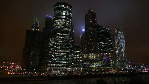 Business Center - Moscow City At Night In Winter stock footage