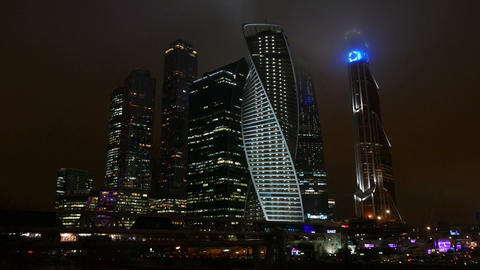 Business Center - Moscow City at night in winter Stock Video Footage