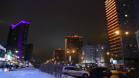 Night Moscow - Kalinin Prospekt Illuminated At Nig stock footage