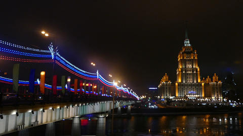 Night Moscow - hotel Ukraine and Bridge illuminate Footage