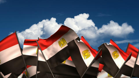 Waving Egyptian Flags Animation