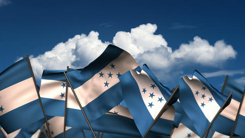Waving El Honduran Flags Animation