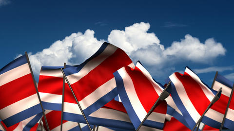 Waving Costa Rican Flags Animation