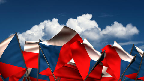 Waving Czech Flags Animation